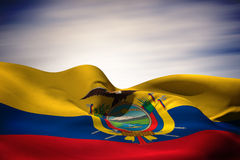 Imagem composta da ondulação da bandeira de Equador ilustração stock