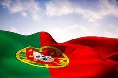Imagem composta da ondulação da bandeira de Portugal Imagens de Stock Royalty Free