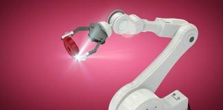 Imagem composta da opinião de ângulo alto da engrenagem robótico 3d da terra arrendada de braço Imagens de Stock Royalty Free