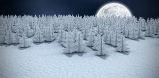 Imagem composta da opinião de ângulo alto de árvores de Natal na floresta no campo nevado Imagem de Stock Royalty Free
