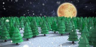Imagem composta da opinião de ângulo alto de árvores de Natal verdes na floresta Fotografia de Stock Royalty Free