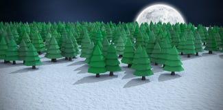 Imagem composta da opinião de ângulo alto de árvores de Natal verdes no campo nevado na floresta Fotos de Stock