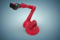 Imagem composta da opinião de ângulo alto do robô vermelho que guarda o telefone esperto 3d Imagens de Stock