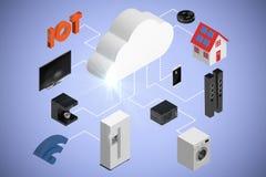 Imagem composta da opinião de ângulo alto dos ícones e da nuvem 3d Fotografia de Stock