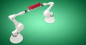 Imagem composta da opinião de ângulo alto dos robôs que guardam o texto 3d da equipe Foto de Stock Royalty Free
