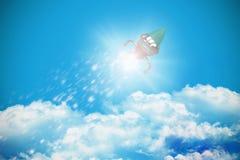 Imagem composta da opinião de baixo ângulo do brinquedo da nave espacial Foto de Stock