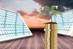 Imagem composta da pilha de moedas e de planta de ouro no solo 3d Imagem de Stock