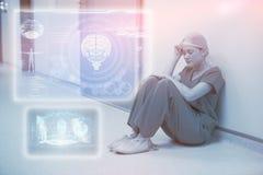 Imagem composta da relação médica da biologia em 3d azul Foto de Stock