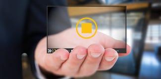 A imagem composta da seção meados de um homem de negócios com distribui 3d Imagens de Stock