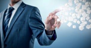 Imagem composta da seção mestra do homem de negócios bem vestido que aponta 3d Imagens de Stock Royalty Free