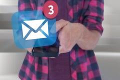 Imagem composta da seção mestra do homem no telefone esperto de utilização ocasional Imagem de Stock Royalty Free