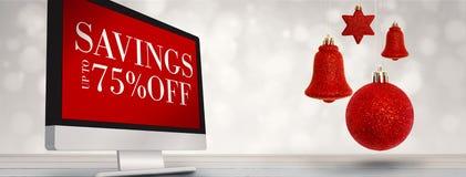 Imagem composta da suspensão vermelha da decoração do sino de Natal Imagem de Stock Royalty Free