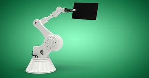 Imagem composta da tabuleta digital com o robô contra o fundo branco 3d Fotografia de Stock Royalty Free