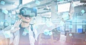 Imagem composta da tela futurista com quaders 3D Imagens de Stock Royalty Free