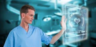 Imagem composta da tela invisível tocante 3d da enfermeira masculina Imagens de Stock