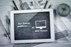 Imagem composta da velha escola contra a escola nova Imagens de Stock Royalty Free