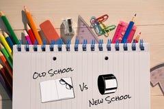 Imagem composta da velha escola contra a escola nova Fotografia de Stock
