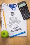 Imagem composta da velha escola contra a escola nova Imagens de Stock