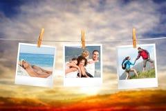 Imagem composta das fotos imediatas que penduram em uma linha Fotografia de Stock Royalty Free