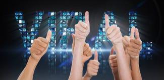 Imagem composta das mãos acima e dos polegares aumentados Imagens de Stock Royalty Free