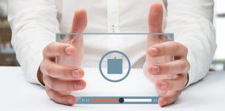 Imagem composta das mãos que guardam 3d Imagens de Stock
