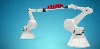 A imagem composta das mãos robóticos mecânicas que guardam a nuvem text contra o fundo branco Imagem de Stock
