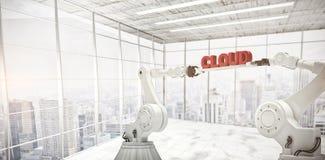 A imagem composta das mãos robóticos mecânicas que guardam a nuvem text contra o fundo branco Imagem de Stock Royalty Free