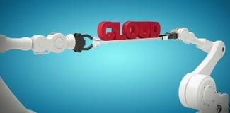 A imagem composta das mãos robóticos metálicas que guardam a nuvem text no fundo branco Imagem de Stock Royalty Free