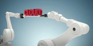 A imagem composta das mãos robóticos que guardam a nuvem vermelha text contra o fundo branco Imagem de Stock Royalty Free
