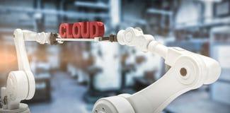 A imagem composta das mãos robóticos que guardam a nuvem vermelha text contra o fundo branco Fotos de Stock