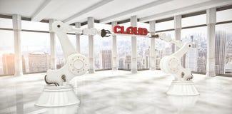 A imagem composta das mãos robóticos que guardam a nuvem vermelha text sobre o fundo branco Fotografia de Stock