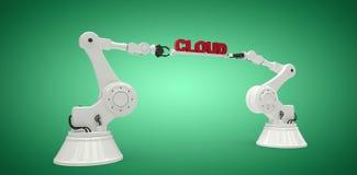 A imagem composta das mãos robóticos que guardam a nuvem vermelha text sobre a vinheta verde Imagem de Stock