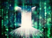 Imagem composta das portas que abrem para revelar o céu bonito Imagem de Stock Royalty Free