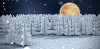 Imagem composta de árvores de Natal na floresta Fotos de Stock