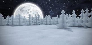 Imagem composta de árvores de Natal na floresta no campo nevado Foto de Stock Royalty Free