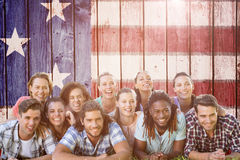 Imagem composta de amigos felizes no parque Fotografia de Stock
