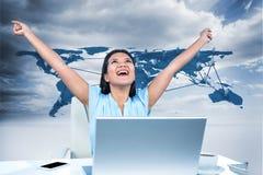 Imagem composta de comemorar a mulher com os braços aumentados Fotografia de Stock