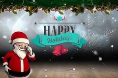Imagem composta de desenhos animados bonitos Papai Noel Imagens de Stock Royalty Free