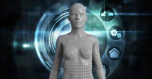 Imagem composta de Digitas da fêmea 3d sobre gráficos Imagens de Stock