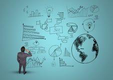 Imagem composta de Digitas de um homem de negócios pensativo com gráficos de negócio Foto de Stock