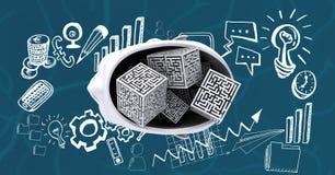 Imagem composta de Digitas do cérebro 3d cercada por ícones Imagem de Stock Royalty Free