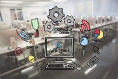 Imagem composta de Digitas do gráfico de computador entre vários ícones no escritório Imagens de Stock