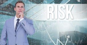 Imagem composta de Digitas do homem de negócios pensativo que está contra o texto e os gráficos do risco Fotos de Stock Royalty Free