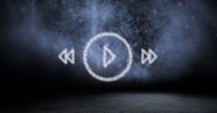 Imagem composta de Digitas dos botões da música feitos da textura da nuvem Imagens de Stock Royalty Free