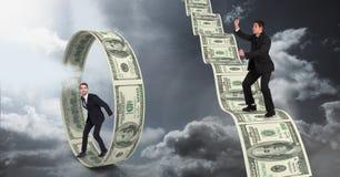Imagem composta de Digitas dos homens de negócios que estão no dinheiro ilustração royalty free