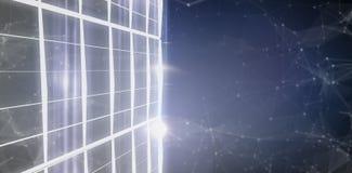 A imagem composta de diretamente disparou abaixo de 3d de construção de vidro Imagens de Stock