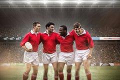 Imagem composta de fãs do rugby na arena fotos de stock royalty free