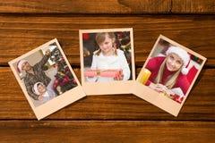 Imagem composta de fotos imediatas no assoalho de madeira Imagem de Stock Royalty Free