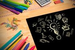 Imagem composta de garatujas da educação Foto de Stock