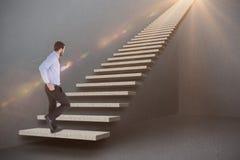 Imagem composta de homem de negócios unsmiling no piso 3d do terno Fotografia de Stock Royalty Free